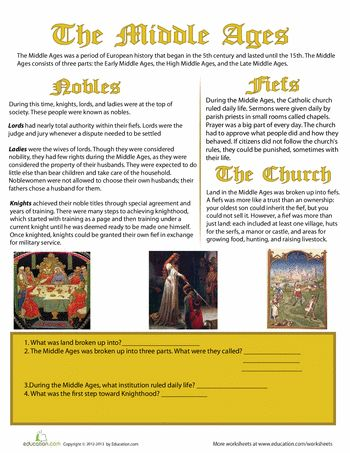 Worksheets: The Middle Ages