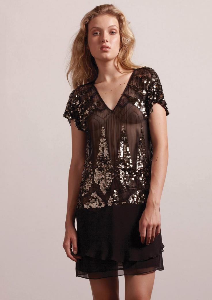 Flapper Fever Beaded Dress Black