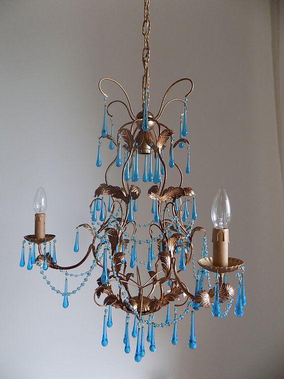 30s italian tole gilded birdcage chandelier clear blue murano 3 arms drops rare - Birdcage Chandelier