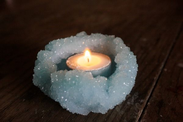 How to grow your own crystal candle holders with borax.