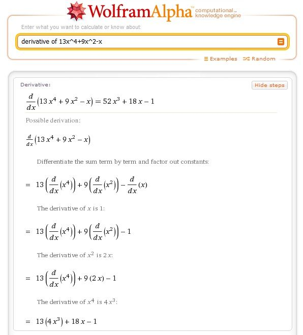 Wolfram Alpha is quite possibly the most insanely useful website in existence, especially if you're taking a math class. Never heard of it? You need to… it can help you out with homework a lot.