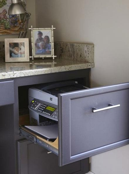 Great idea for the home office! If you have a smaller printer, hide it in a drawer so it doesn't take up valuable desktop space.