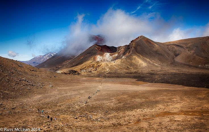 """""""Tongariro Crossing"""" - National Park, North Island, New Zealand.   Promoted as one of the best day walks in NZ - there is so much to see.  With a trio of mountains - Ruapehu, Ngauruhoe & Tongariro each having been volcanically active in recent times. Lava flows are complemented by crater lakes, scree slopes, alpine flora & fauna & native forest."""