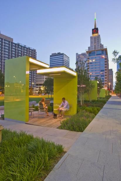 Garden seating! Main Street Garden ParkDallas, TX. Addition of these Perspex structures gives seating a human scale.