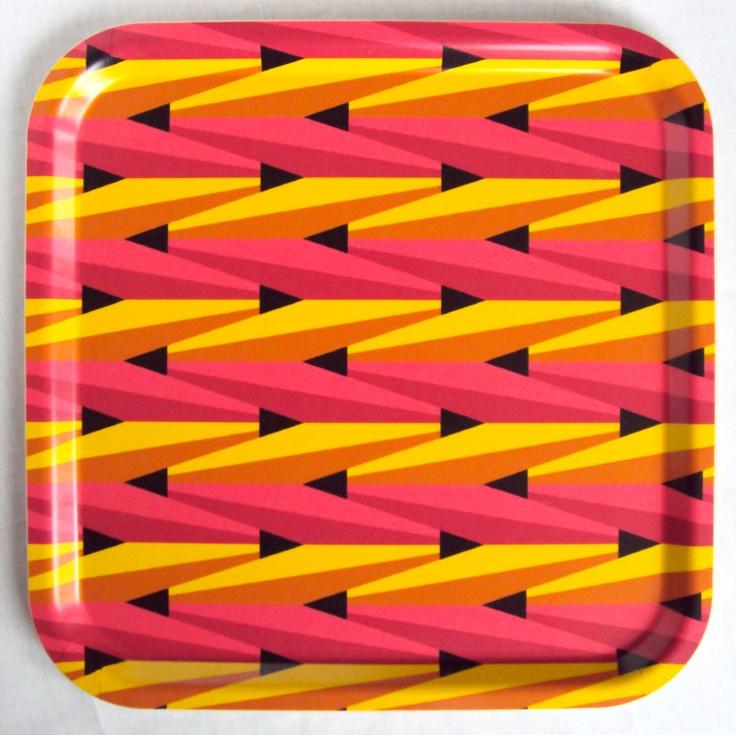 Retro tray in bold, graphic pattern. Yellow, pink, orange, black. via Etsy.