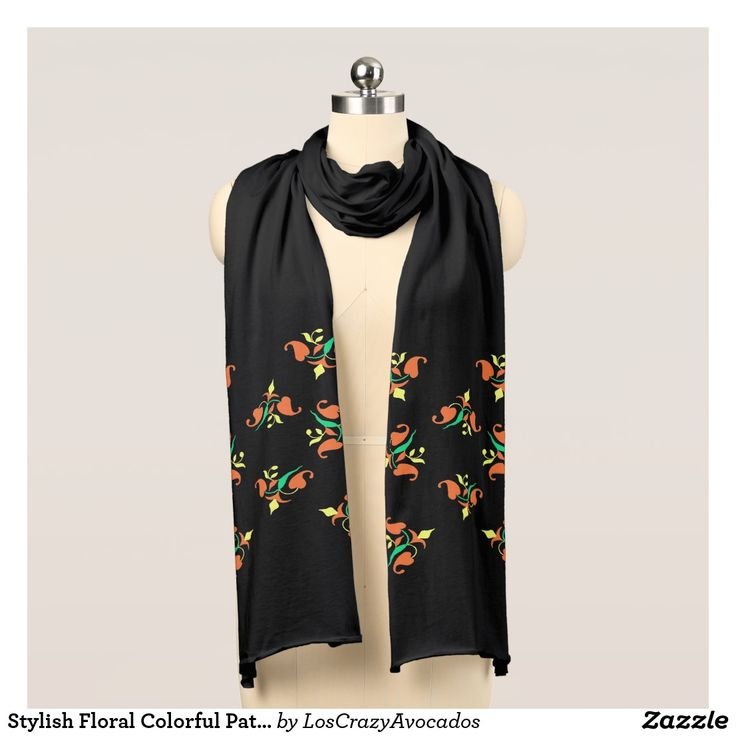 Stylish Floral Colorful Pattern Jersey Scarf