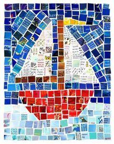 * Zeilboot: mozaïek van uit tijdschriften geknipte vierkantjes