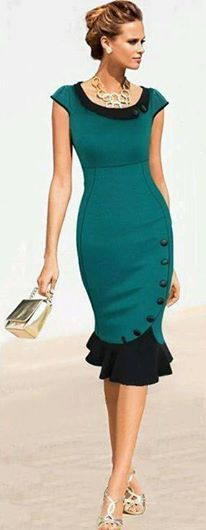 The color story of teal blue dress.