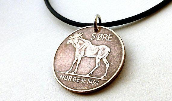 Coin necklace Norwegian 1959 Deer necklace Elk Men's