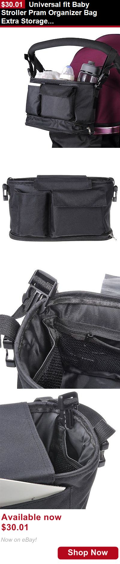 Organizers And Nets: Universal Fit Baby Stroller Pram Organizer Bag Extra Storage 2 Cup Holders Strap BUY IT NOW ONLY: $30.01