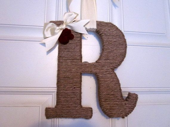 Twine Letter Initial with rolled felt flowers by lollyjodesigns, $32.00