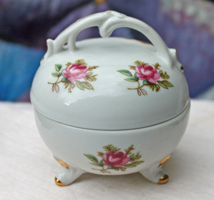 Vintage Johann Haviland Porcelain Small Trinket Box with Lid.  Lidded Bowl with  Moss Rose Pattern,  Made In Bavaria. by AnythingDiscovered on Etsy