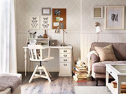 Piccola postazione di lavoro con scrivania e sedia girevole bianche – IKEA
