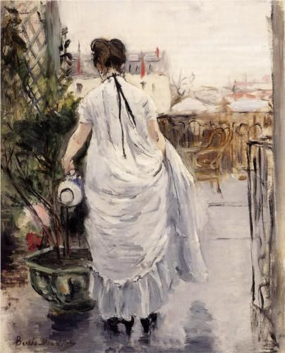 Young Woman Watering a Plant by  Berthe Morisot, 1883: Young Woman, Berthemorisot, Young Women, Fine Art, Berthe Morisot, Artist, Painting, Shrubs
