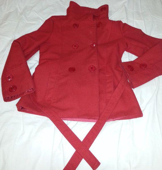 Cappotto rosso invernale doppiopetto donna xlxxl / di TheXLVintage, €40.00