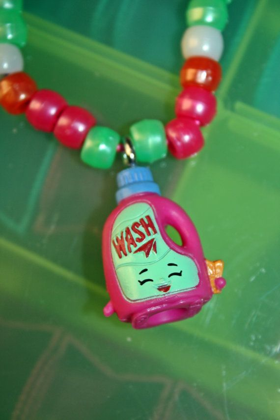 Custom Handmade Shopkins Season 2 necklaces. Necklaces are made with quality elastic string, Pony beads, and stainless steel eyelets that were