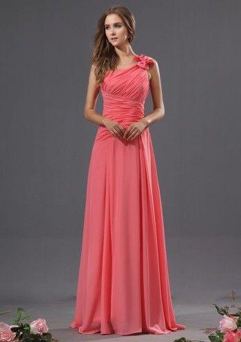 Watermelon A-line Long One Shoulder Chiffon Bridesmaid Dress(BTBD634)