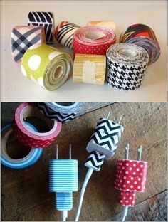 Keep everyone from stealing your chargers: Identify cords and chargers using washi tape. #DIY #lifehack