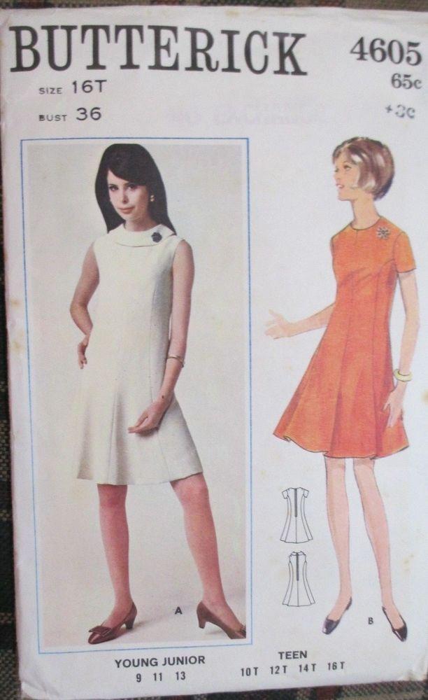 Butterick sewing pattern no.4605 LADIES DRESS SIZE 16 VINTAGE #Butterick #Patterns