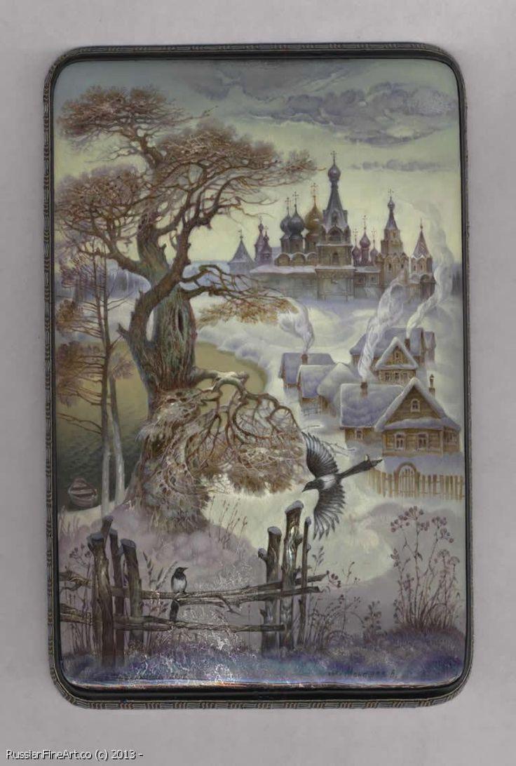 "Monashov Vladimir ""Magpies"" - box, Fedoskino lacquer painting technique. $1555.00"