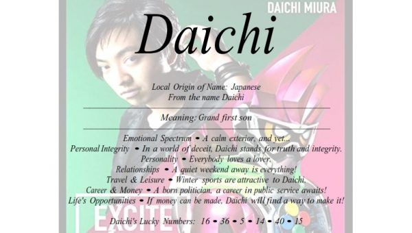 Meaning Of Japanese Male Name Daichi Is Grand First Son Japanese Male Names Names With Meaning Japanese Names
