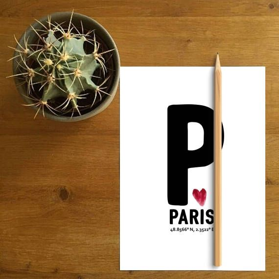 Paris Coordinates Decor Paris Love Sign Parisian Greeting Card Paris print 8X10, 5X7 by Paffle Design