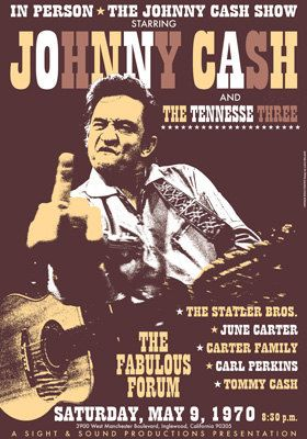 JOHNNY CASH & the Tennesse Three - Inglewood California 9 May 1970 - artistic concert poster