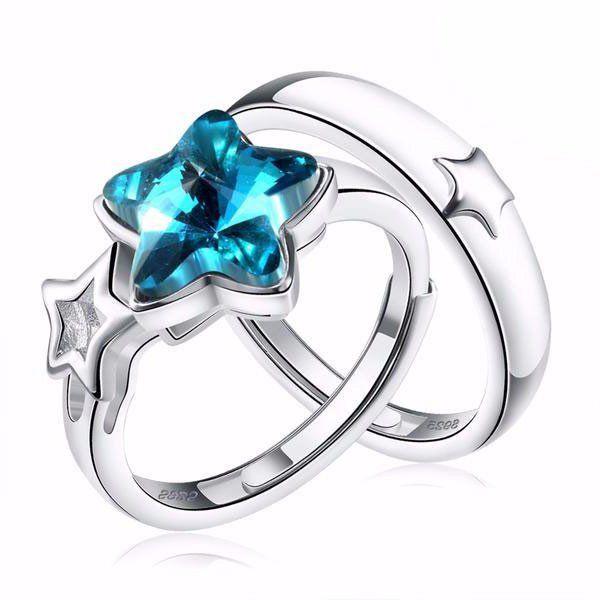 Blue Star Couples Promise Rings Set