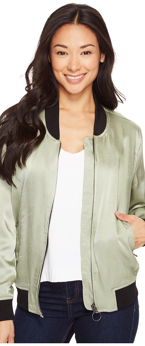 Calvin Klein Jeans Solid Seduction Bomber (Sage) Women's Coat - Calvin Klein Jeans, Solid Seduction Bomber, 42AO400-365, Apparel Top Coat, Coat, Top, Apparel, Clothes Clothing, Gift - Outfit Ideas And Street Style 2017