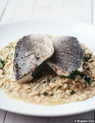 Bream with wild garlic risotto