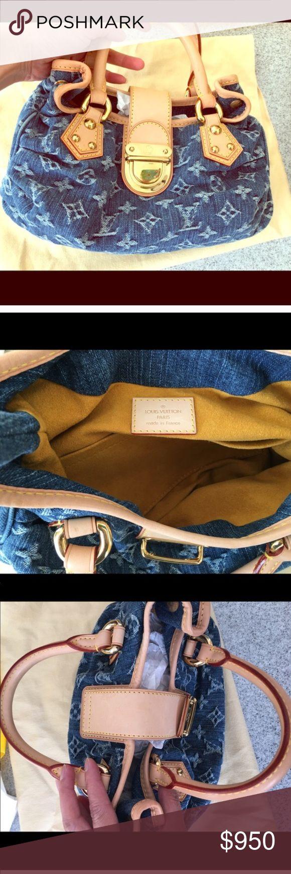 NEW AUTHENTIC Louis Vuitton denim Mini Bag NEW Louis Vuitton blue denim mini bag with tan trim and handles. Please see pictures Louis Vuitton Bags Mini Bags