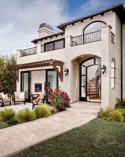 Mediterranean Exterior Of Home With Pathway Fountain: An Example Of Travertine Path. Special Features Of This