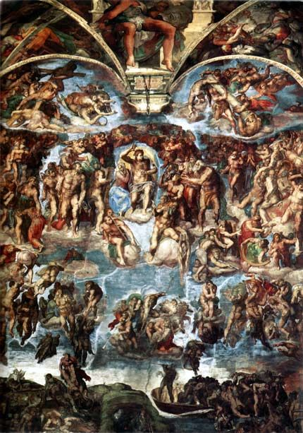 This Renaissance-era painting by Michaelangelo called The Last Judgement features perspective painting and various light angles.