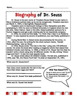 Biography of Dr. Seuss - for my gifted small group