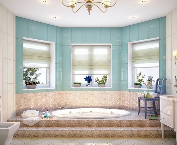 Light Blue Bathroom : Mosaic tiles, Light blue bathrooms and Tile on Pinterest