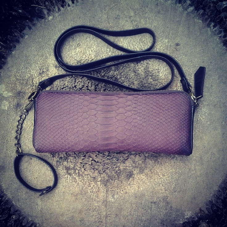 Snake and black leather clutch with detachable leather straps by 2ndSKIN https://www.facebook.com/pages/2nd-SKIN-leather-goods-and-design/151719754860719