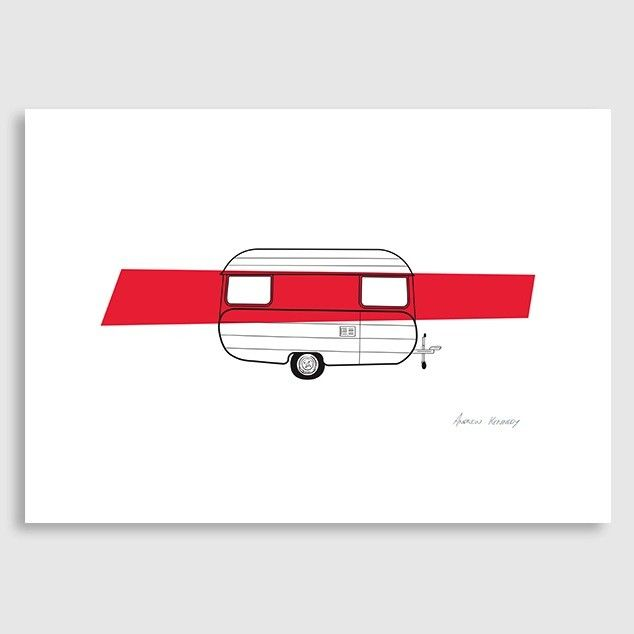 Red Caravan Art Print by Andrew Kennedy