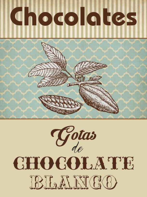 Etiqueta personalizada gotas de chocolate para Laura