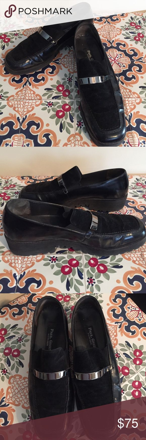 Paul Green black leather & suede loafer Paul Green black leather & suede loafer with square toe box. Silver bar accent across top of shoe. Thick rubber soles = unbelievable comfort. Sz. 8 Paul Green Shoes Flats & Loafers