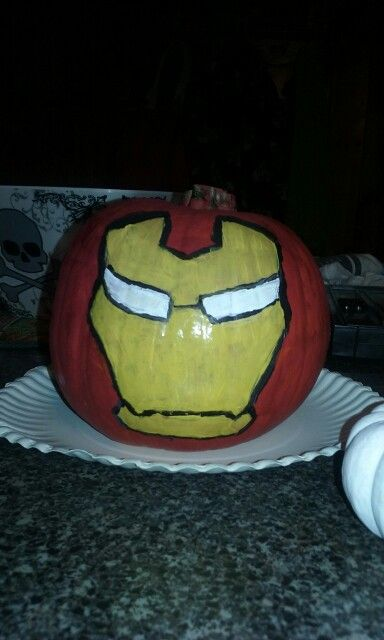 Iron man painted pumpkin