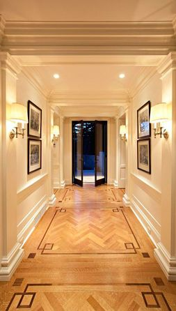 McGill Design Group -Love the Chevron herringbone wood floors-its all about details! Would lose the wall sconces though...