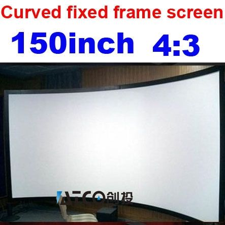 619.00$  Watch here - http://alifep.worldwells.pw/go.php?t=1068613640 - Free shipping 4:3 150 inch Large screen Full HD Curved Fixed Frame Projection projector Screen on sale
