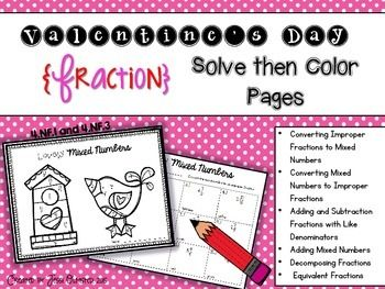Print and GO! It doesn't get any easier than that!  Give your students some good skill review with these fun Valentine's Day math activities. They solve fraction related problems, then match it up to color the picture.  My students LOVE, LOVE, LOVE these and ASK me to make them. :) It really helped us review for our fractions test and they had a blast doing it!  You can use these however you see fit, but I used them as morning work and as practice after I taught a skill. ...