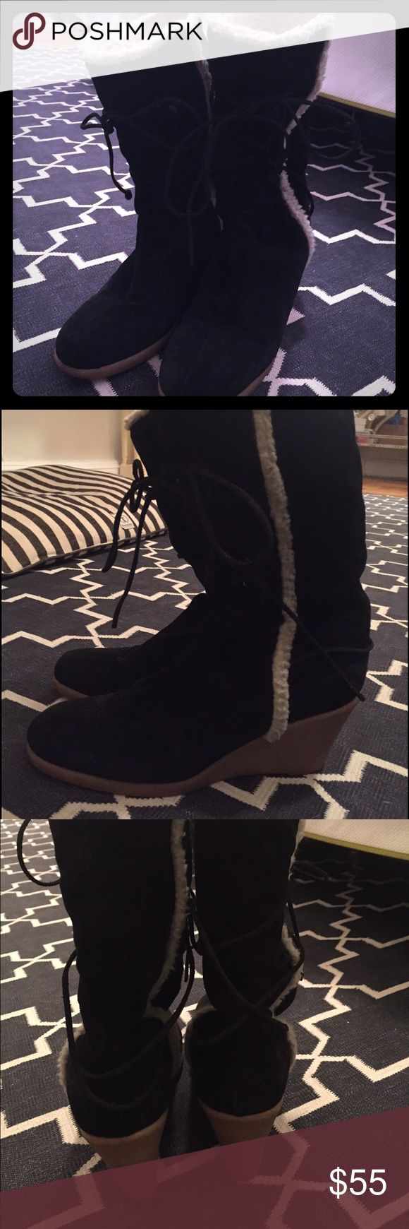 Michael KORS Black Suede Wedge Boots Rubber Sole Ready for Sundance!  These boots are stylish, give great height and super comfortable with a rubber wedge sole.  size 10 black suede.  Authenticity guaranteed.  Purchased at Intermix NYC. KORS Michael Kors Shoes Heeled Boots