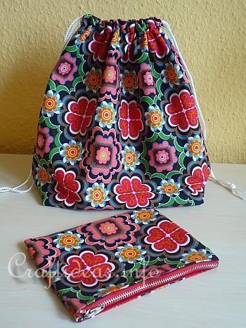 Sewing Craft for Spring - Fabric Drawstring Shoe Bag
