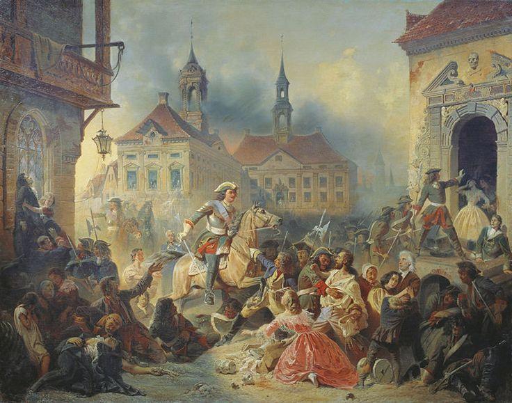 'Peter de Grote roept muitende soldaten een halt toe na de slag om Narva in 1704', 1859 / Nikolay Sauerweld (1836-1866).