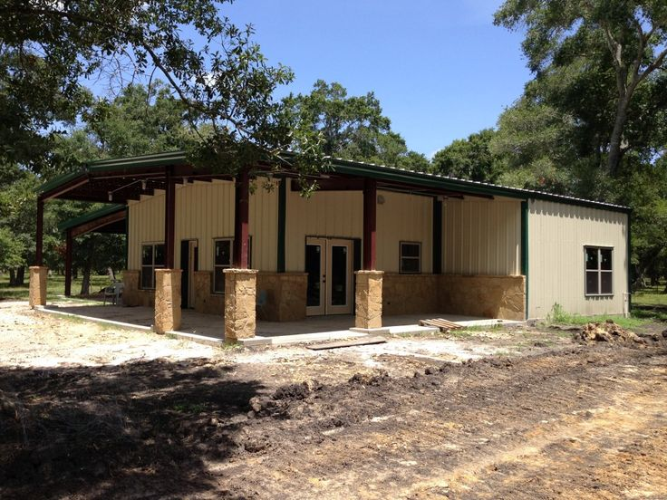 Kainos steel barndominium with two porches and 24 39 lean to for Building a house in texas
