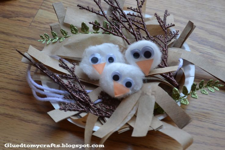 paper birds nest.   Could be used in story sack for 'owls'.