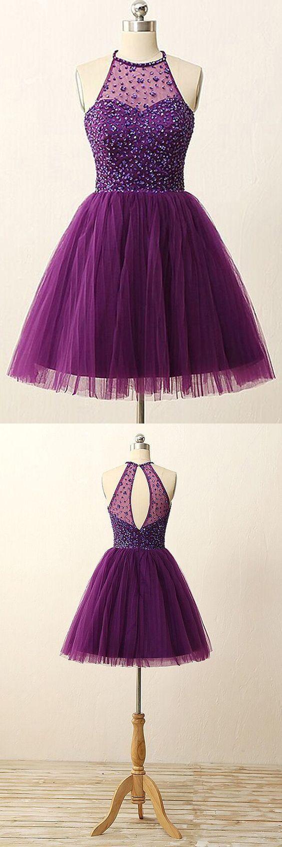 2016 homecoming dresses,homecoming dresses,halter homecoming dresses,purple…: