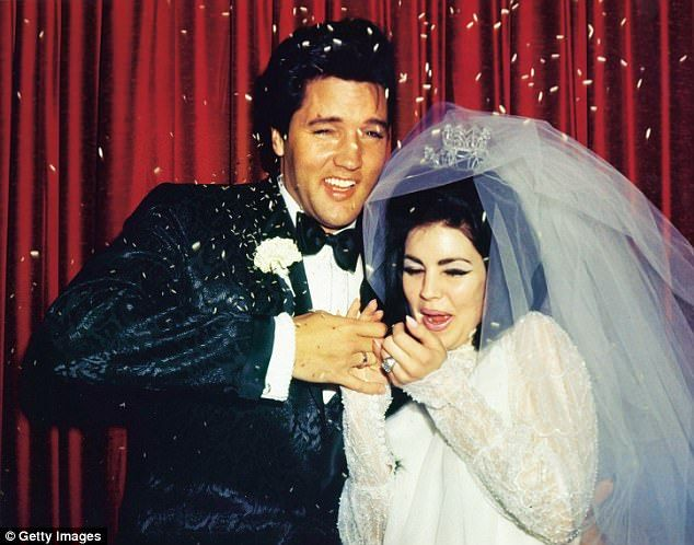 Above: Elvis marries Priscilla Beaulieu on May 1, 1967 at the Aladdin Hotel, Las Vegas fol...